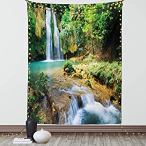 Lunarable Nature Tapestry, Green Forest Waterfall Fresh Natural Water Source Healthy Places on The Earth, Fabric Wall Hanging Decor for Bedroom Living Room Dorm, 30