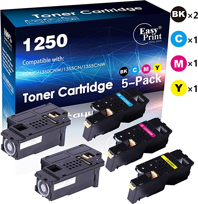 (5-Pack, 2X Black+Cyan+Magenta+Yellow) Compatible 1250 Toner Cartridge Used for Dell 1250C 1350CNW 1355CN 1355CNW C1760NW C1765NF Printer, Sold by EasyPrint
