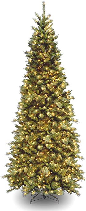 Amazon Com National Tree Company Pre Lit Artificial Christmas Tree Includes Pre Strung White Lights And Stand Tiffany Fir Slim 9 Ft Home Kitchen
