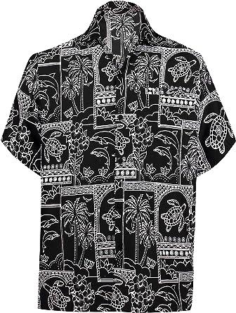 LA LEELA relajó la Aloha Hawaiano botón de Manga Corta de los Hombres Abajo Hawaiano Camisa roja: Amazon.es: Ropa y accesorios