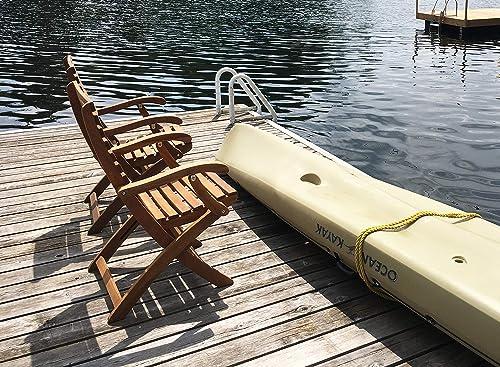 Interbuild Casino Fold Arm Chair Golden Teak Finish Foldable 2-Piece Set
