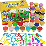 KIDDY DOUGH 40 Pack of Birthday Party Favors Bulk Dough & Clay Pack - Includes Molded Animal Shaped Lids + 40 Shapes…