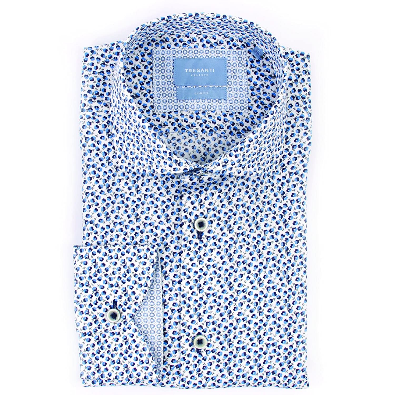 Tresanti Navy Floral Print Mens Luxury Cotton Long Sleeve Casual Slim Fit Blue Shirt