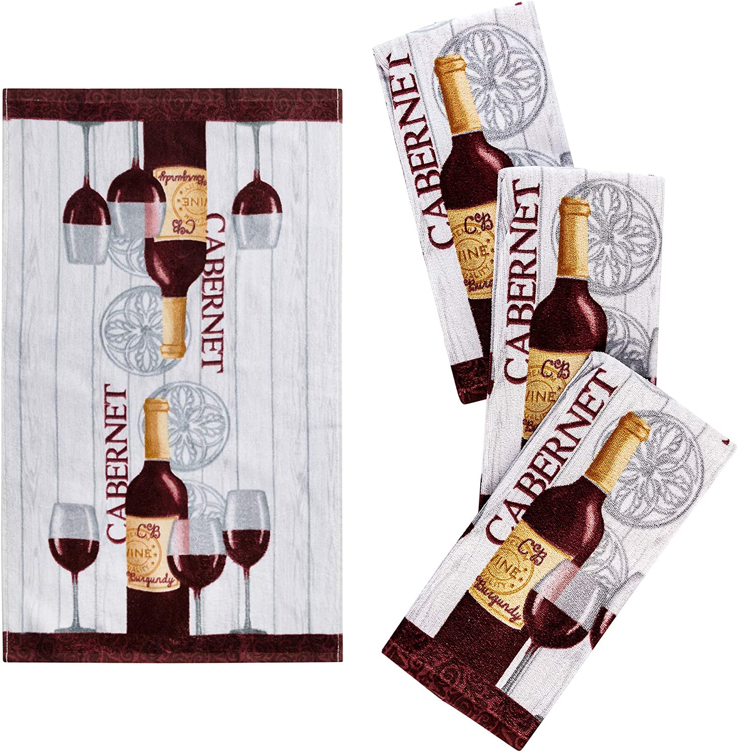 "Franco Kitchen Designers Set of 4 Decorative Soft and Absorbent Cotton Dish Towels, 15"" x 25"", Rustic Wine"