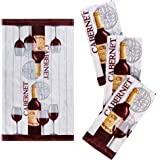 """Franco Kitchen Designers Set of 4 Decorative Soft and Absorbent Cotton Dish Towels, 15"""" x 25"""", Rustic Wine"""