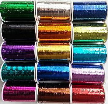 15/Spulen von Lurex Premium threadss 2500/Meter jede Spule Gr/ö/ße 1//32; 15/verschiedenen Farben; Bargain