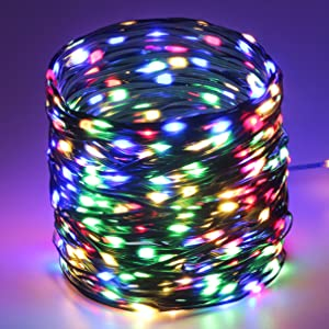 Tcamp 164FT 500 LED Christmas Lights Outdoor Indoor String Lights, 8 Modes Green Wire Christmas Tree Lights Waterproof Starry Fairy Lights for Christmas Holiday Party Bedroom Decor (Colored)