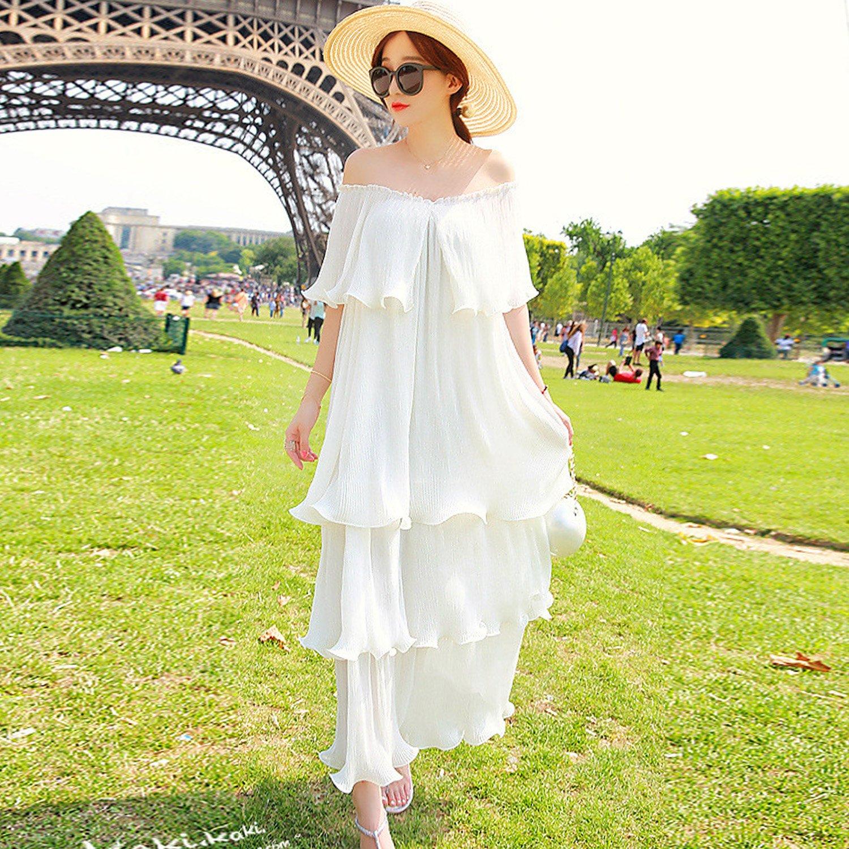 ACHICGIRL Women's Off-Shoulder Ruffles Layered Boho Maxi Dress