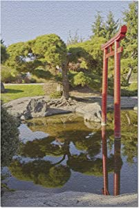 Lantern Press Tacoma, Washington - Japanese Garden with Red Gate & Calm Reflecting Pool 9016949 (1000 Piece Premium Jigsaw Puzzle for Adults and Family, 19x27)