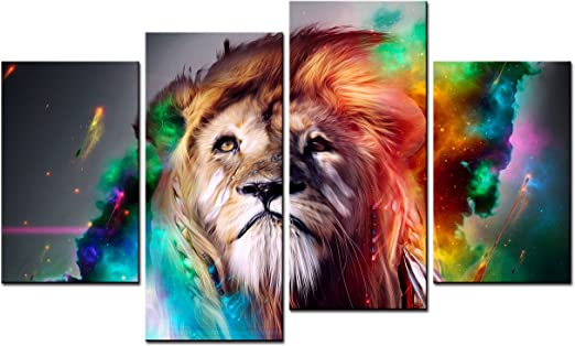 ABSTRACT LION SET OF 4 CANVAS WALL ART PICTURES PRINTS LARGER SIZES AVAILABLE
