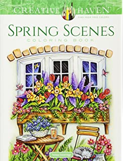 Creative Haven Spring Scenes Coloring Book Books
