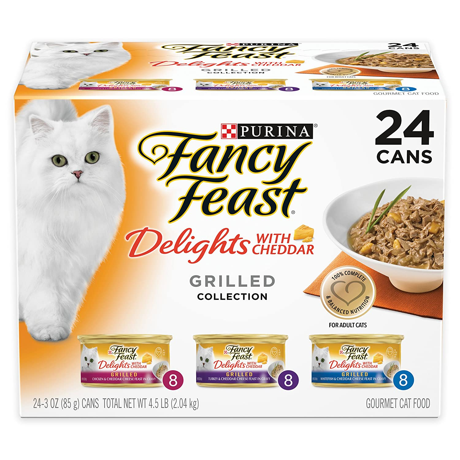 Purina Fancy Feast Delights With Cheddar Gourmet Cat Food Grilled Varieties - 24 CT NTP-964