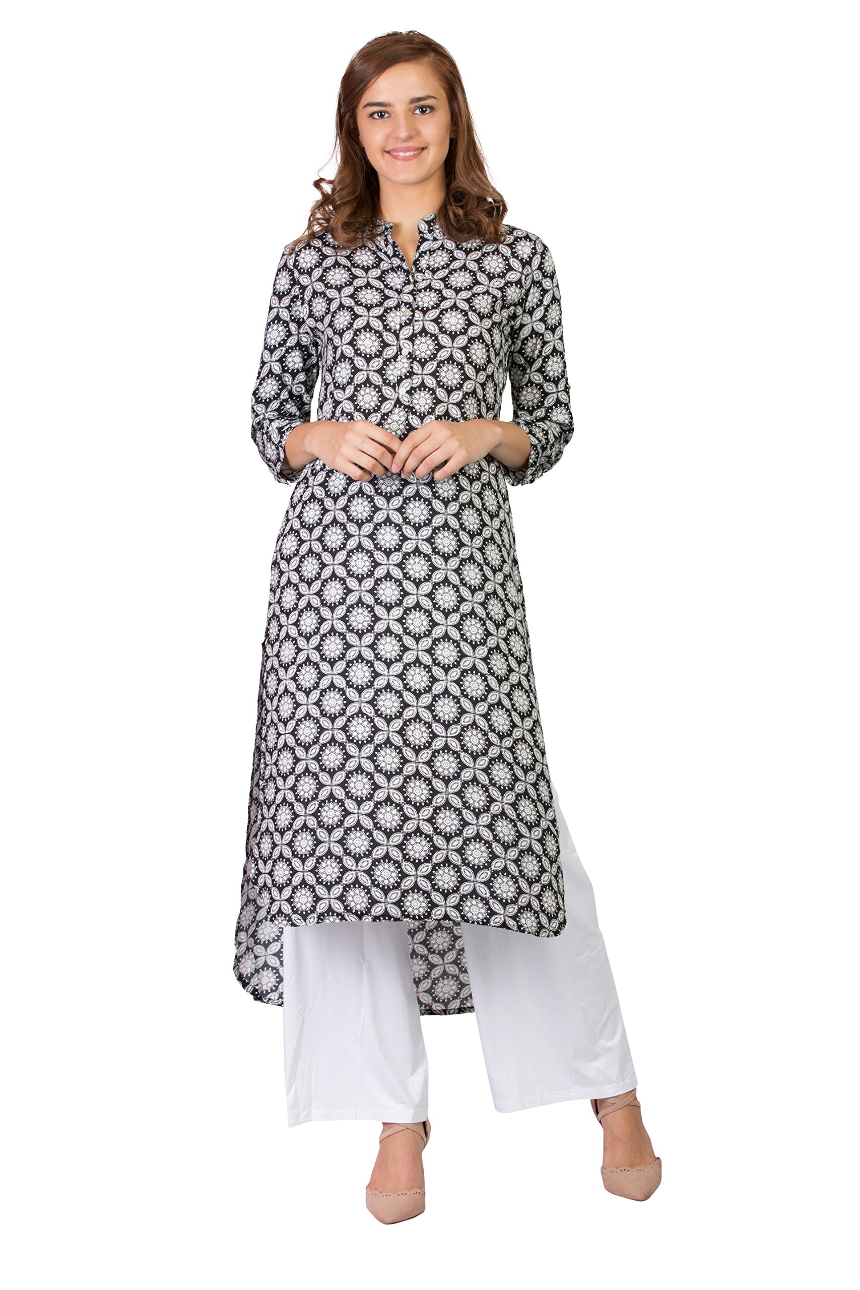 SABHYATA Women's Kurta 100% Pure Cotton Kurti for Women Tunic Casual Long Multicoloured Dress (Small, Black Floral)