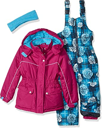 Pink Platinum Girls Little Printed Super Snowsuit Heart Black 6X