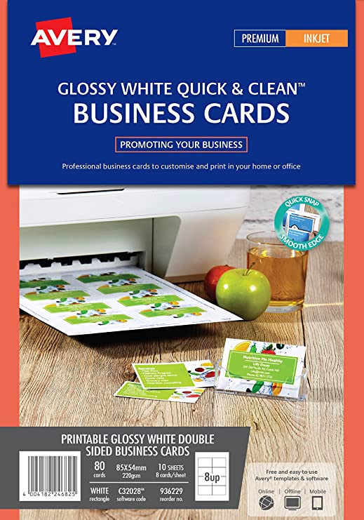 Avery c32028 10 double side printable business cards with glossy avery c32028 10 double side printable business cards with glossy finish 240 gsm for inkjet printers amazon office products reheart Images