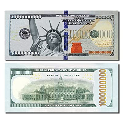 50 Bills of Jumbo Billion Dollar Bills, Best Real Looking Size & Color, The #1 Selling for Schools, Props, and Fun: Office Products