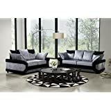 Dino Black and Silver Crushed Velvet Fabric Sofa Settee Couch 3+2 Seater FREE DELIVERY