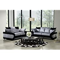 Dino Black Silver Crushed Velvet Fabric Sofa Settee Couch 3+2 Seater