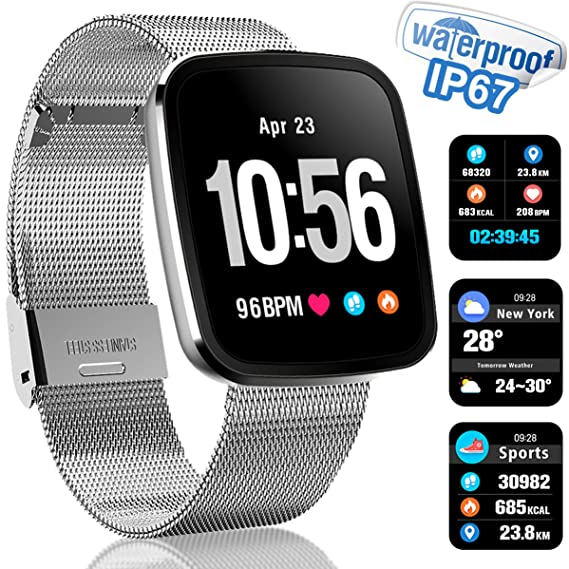 Smart Watch Touchscreen Fitness Tracker with HR Blood Pressure Monito Pedometer Weather Calorie Counter Sleep Monitor Waterproof Smart Sports Watch ...