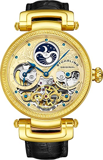ef54bd285 Stuhrling Original Men's 353A.333531 Special Reserve Emperor Magistrate  Automatic Skeleton Dual Time Zone Gold Tone Watch: Amazon.ca: Watches