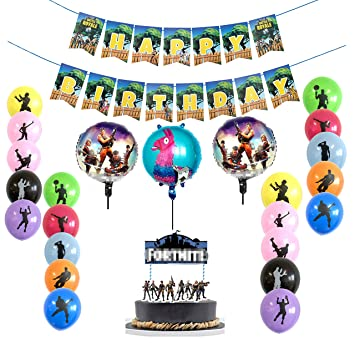 Juego de suministros para fiestas de 21 piezas,16 globos de fiesta de látex,3 globos de aluminio,pancarta de feliz cumpleaños del juego y adorno de ...