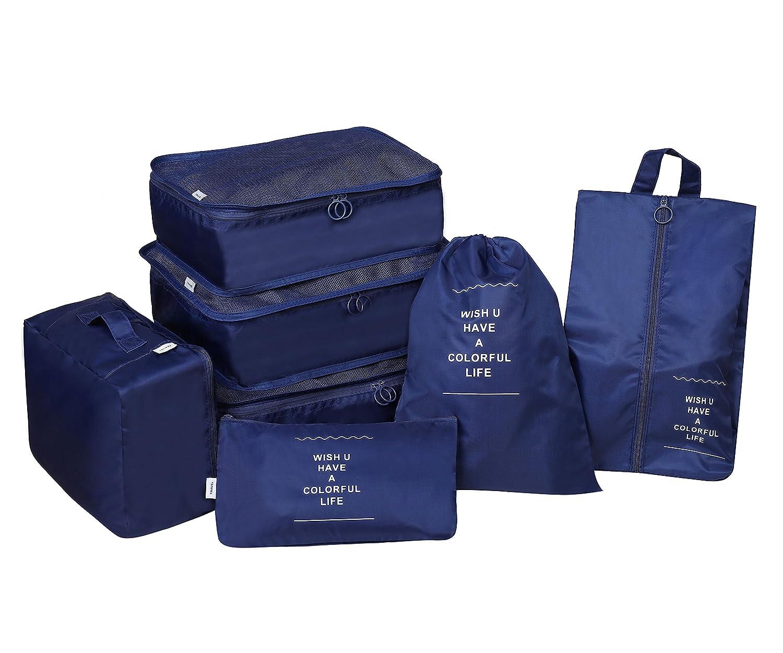 Organizador de Equipaje ,Organizadores de viajes 7 sets Cubos de Embalaje Equipaje Bolsa en el Organizador para Viajes Familiares de Negocios: Amazon.es: ...