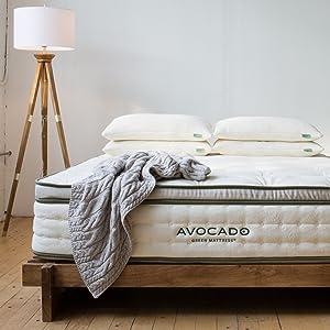 "Avocado Green Mattress Natural Latex, Wool & Organic Cotton - Handmade - Non-Toxic - Luxury Plush - 13"" (King)"