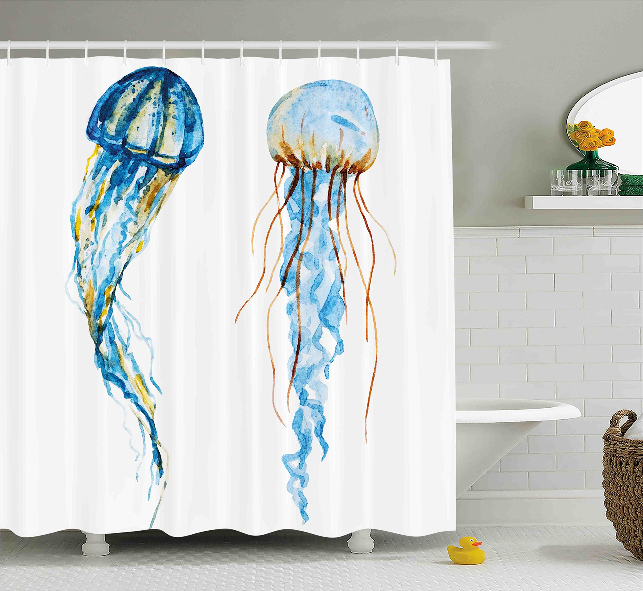 Ambesonne Nautical Decor Shower Curtain, Cute Jellyfish Exotic Sea Ocean Creature Aquatic Animals Watercolor Raster Graphic, Fabric Bathroom Decor Set with Hooks, 70 Inches, Blue