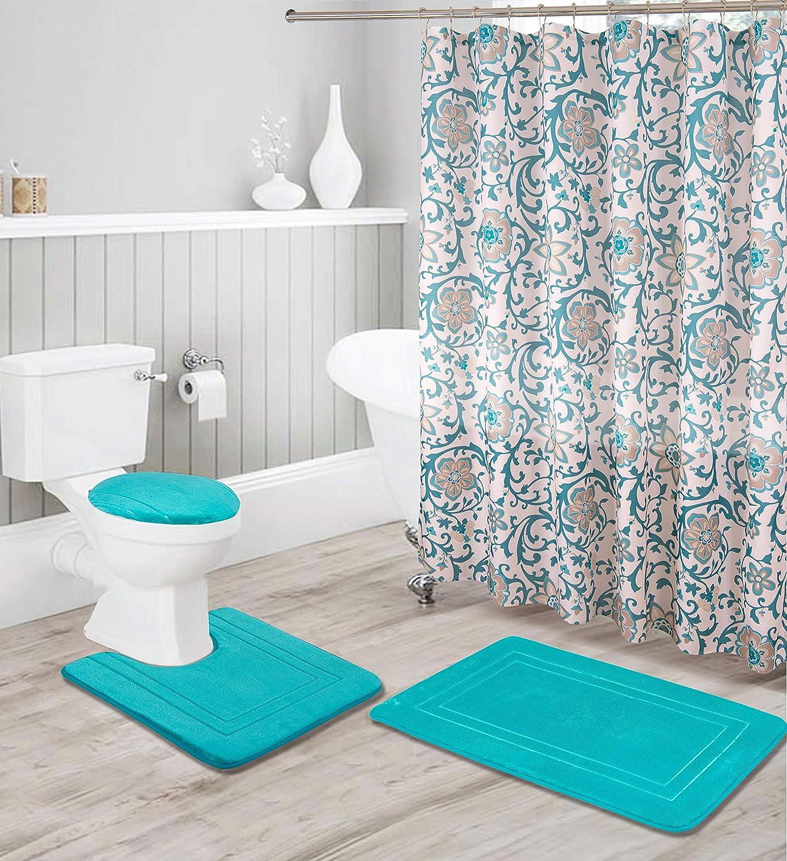 16 Piece Solid Color Shower curtain set