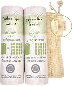 Bamboo Paper Towels From Grow Your Pantry Dual Pack - Eco Friendly, Machine Washable & Reusable for Multipurpose - Comes with TWO Cotton Storage Bags
