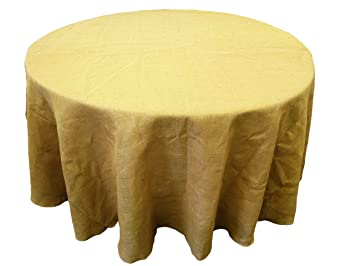 LA Linen Natural Burlap Tablecloth, Round, 108 Inch