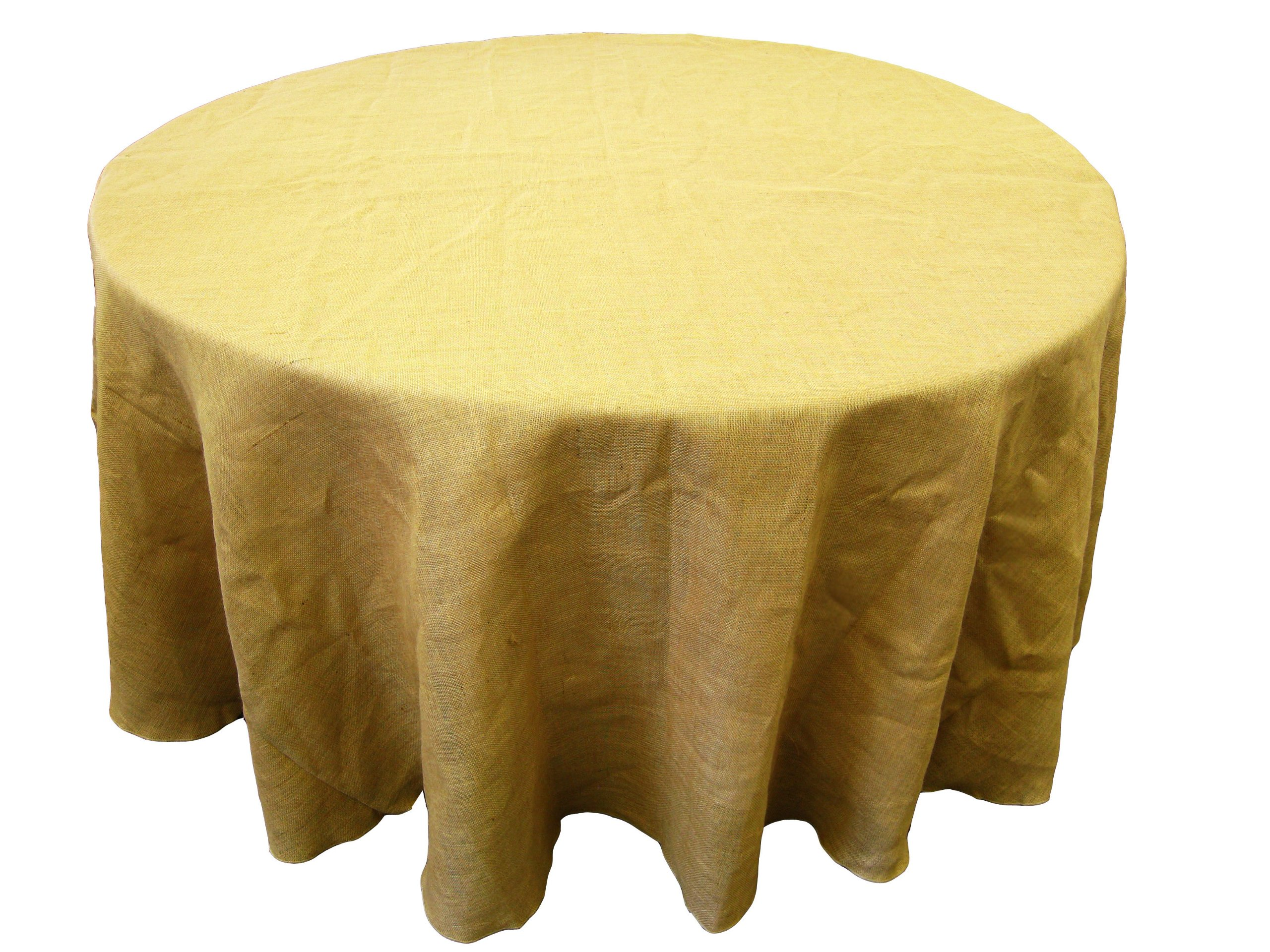LA Linen Natural Burlap Tablecloth, Round, 108-Inch - 100% Premium Natural jute burlap Serged edge for a clean look. LA Linen exclusive color coded size tags for easy size identification - tablecloths, kitchen-dining-room-table-linens, kitchen-dining-room - 91AsKwpy5cL -