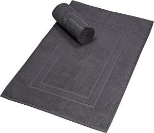 Glamburg Premium Cotton 20x32 inch 2-Pack Bath Mats - 100% Ringspun Cotton - Luxury Hotel & Spa Quality - 800 GSM - Durable Soft Highly Absorbent - Machine Washable - Charcoal Grey