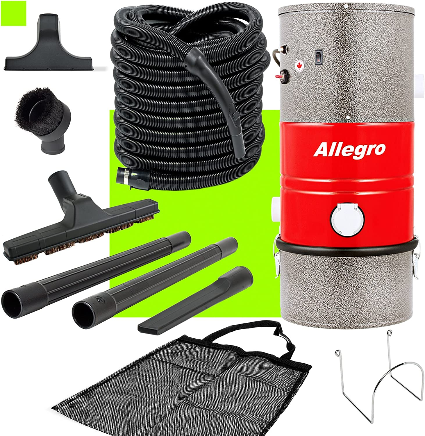 Allegro Poco PKU31001 Allegro MU3100 Wall Mounted Garage and Car Vacuum with 30 Ft. Hose and Tools, Silver Grey/Red