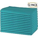 SweetNeedle - Paquete de 12 - Servilletas grandes de algodón 100% algodón 50 CM x 50 CM (20 IN x 20 IN), Teal - Tejido pesado para uso diario con acabado de esquinas acanaladas