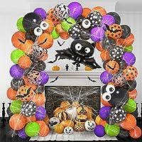 130PCS Halloween Balloon Garland Arch Kit, 35'' Bat Foil Balloons Spider Web 12Pcs 3D Bats Eyeball Black Orange Purple…