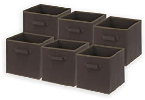 6 Pack - SimpleHouseware Foldable Cube Storage Bin, Brown