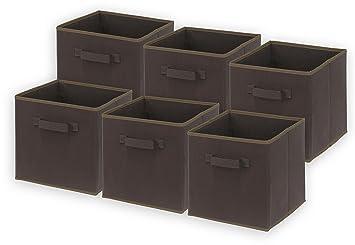 6 Pack   SimpleHouseware Foldable Cube Storage Bin, Brown