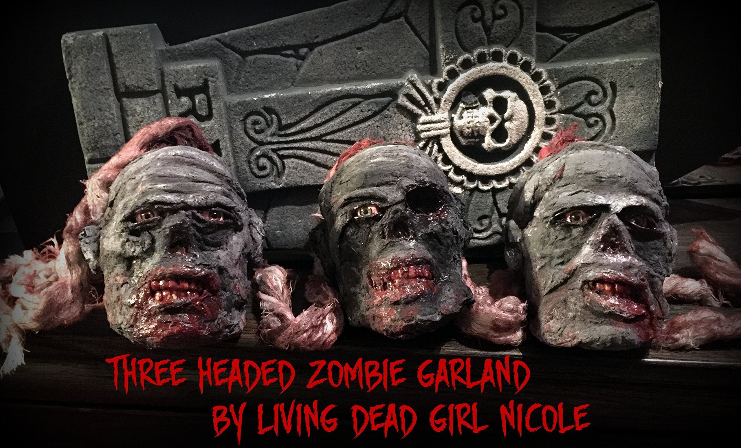 3 Headed Mini Zombie Garland Prop Decoration- Undead Corpse Halloween Horror - Handmade Dark Art