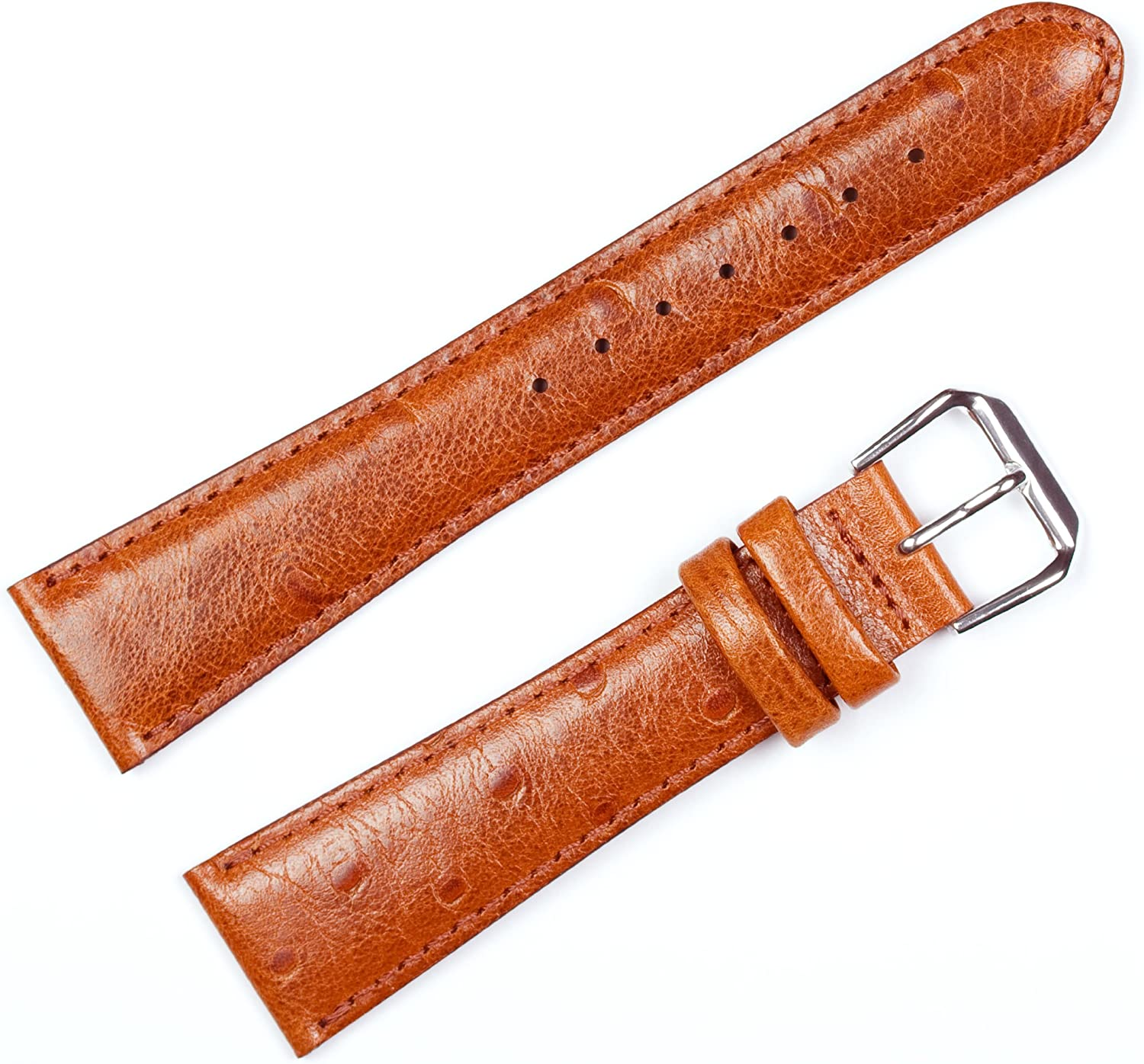 Ostrich Grain Watch Band Havana 12mm Watch Band - by deBeer