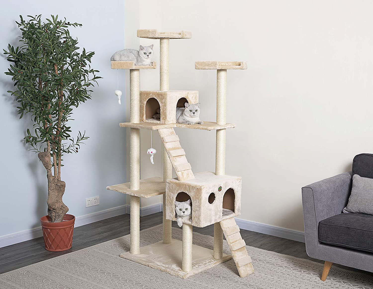 Go Pet Club Cat Tree 50w X 26l X 72h Beige Pet Supplies