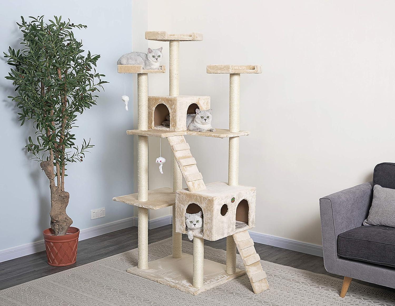 Go Pet Club Cat Tree 50w X 26l X 72h Beige Pet Supplies