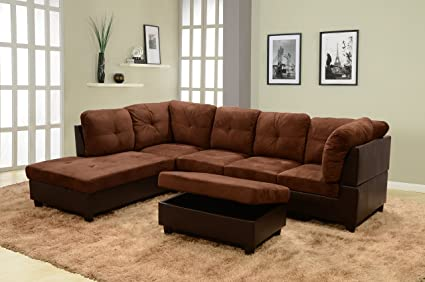 Lifestyle Furniture Left Facing 3PC Sectional Sofa Set,Microfiber&Faux  Leather,Chocolate(LS107A)