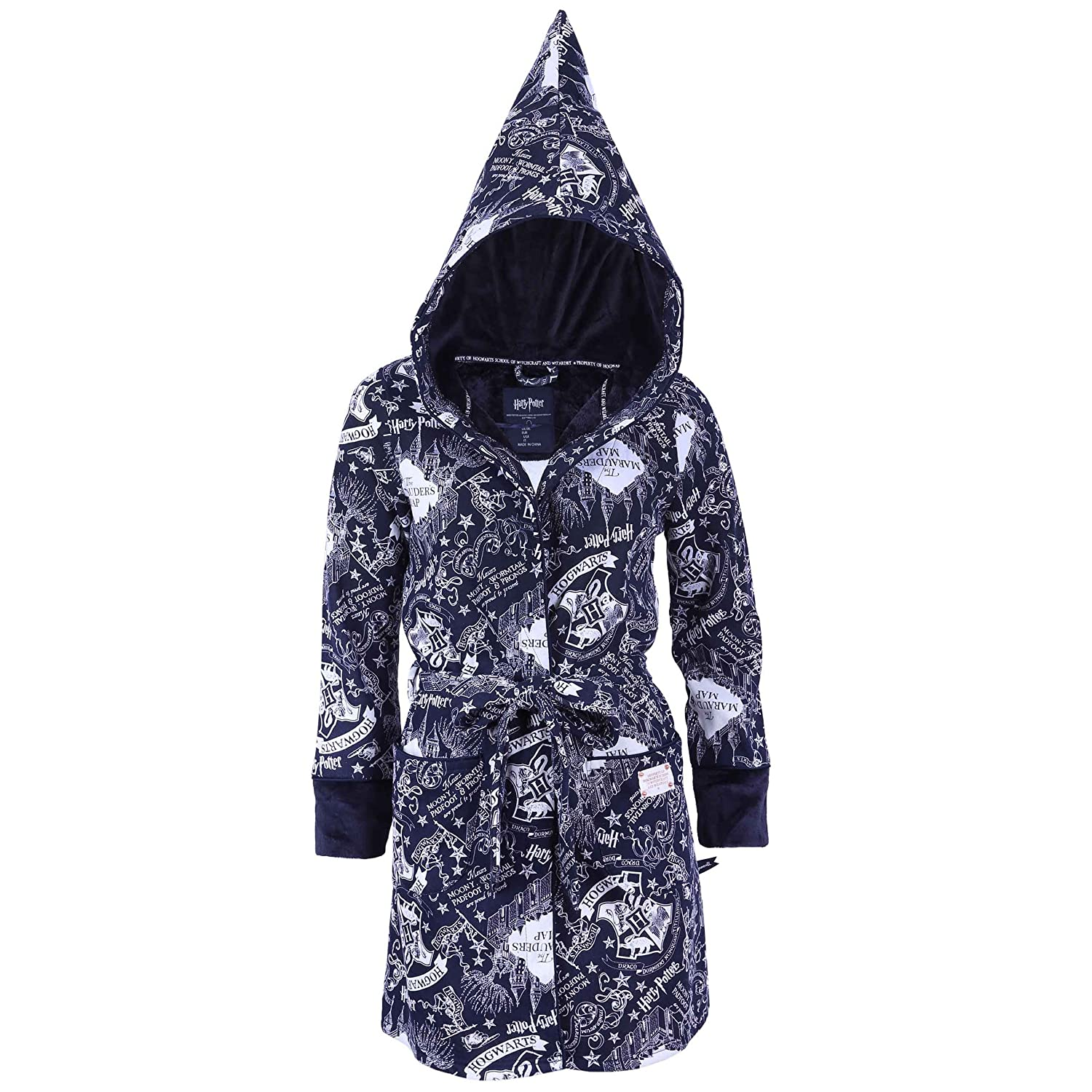 Ladies Navy Blue, The Marauder's MAP Hooded Dressing Gown Hogwarts Harry Potter Harry Potter - Hogwarts