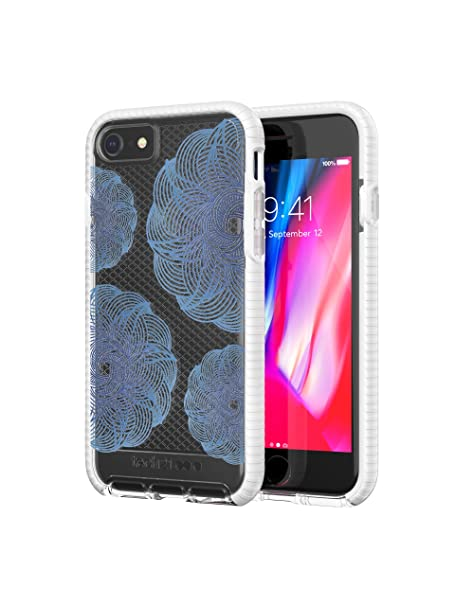 huge selection of 4f117 f2a73 tech21 - Phone Case Compatible with Apple iPhone 8 / iPhone 7 - Evo Check  Evoke Edition - Clear/Blue