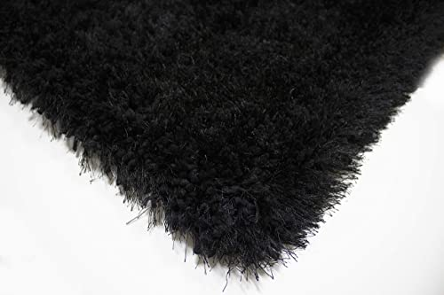 LA Solid Shag Shaggy Fluffy Fuzzy Furry Modern Contemporary Decorative Designer Hand Woven Hand Tufted Pile 8-Feet-by-10-Feet Polyester Made Area Rug Carpet Rug Black Color