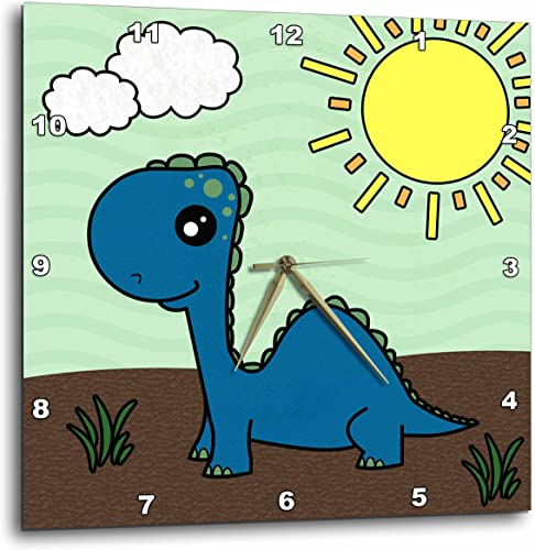 3dRose DPP_13797_2 Cute Baby Blue Dinosaur Scene Wall Clock, 13 by 13-Inch