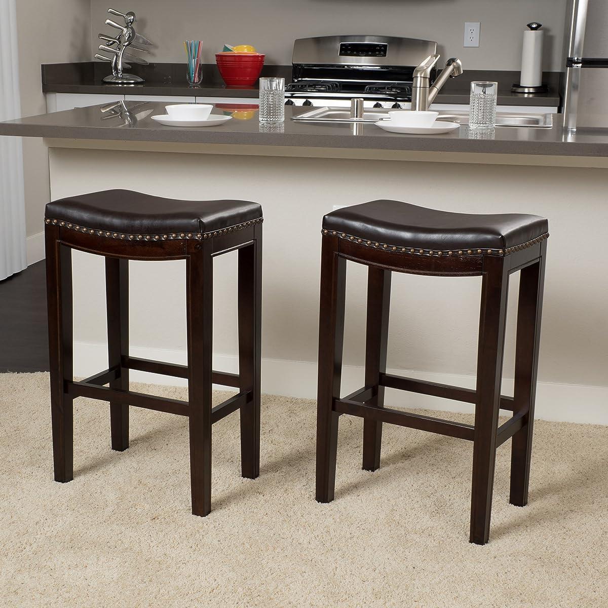 Jaeden Backless Brown Leather 30 high Bar Stools (Set of 2)