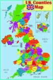 laminated Educational wall poster UK counties map | GB Great Britain counties Poster