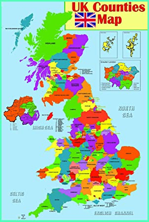 laminated Educational wall poster UK counties map | GB Great Britain ...